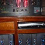 Amplifiers housed in ventilated cabinet in main Salon.